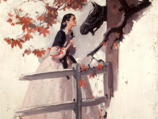 Скачать бесплатно картина, девушка, платье, лошадь. картинки на